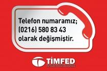 Telefon numaramız 0216 580 8343 olarak değişmiştir.