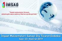 Türkiye İMSAD İnşaat Malzemeleri Sanayi Dış Ticaret Endeksi Haziran 2019 Sonuçları Açıklandı