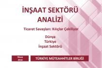 Türkiye Müteahhitler Birliği, İnşaat Sektörü Nisan 2018 Analizini Yayınladı