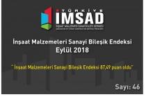 """Türkiye İMSAD """"İnşaat Malzemeleri Sanayi Bileşik Endeksi Eylül 2018"""" Sonuçları Açıklandı"""