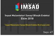 """""""Türkiye İMSAD İnşaat Malzemeleri Sanayi Bileşik Endeksi"""" Ekim Ayı Sonuçları Açıklandı"""