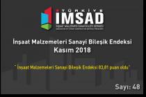 """""""Türkiye İMSAD İnşaat Malzemeleri Sanayi Bileşik Endeksi"""" Kasım Ayı Sonuçları Açıklandı"""