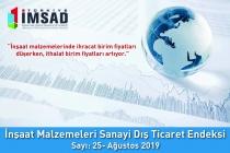 Türkiye İMSAD İnşaat Malzemeleri Sanayi Dış Ticaret Endeksi  Ağustos 2019 Sonuçları Açıklandı