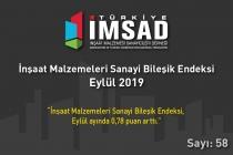 Türkiye İMSAD İnşaat Malzemeleri Sanayi Bileşik Endeksi Eylül 2019 Sonuçları Açıklandı