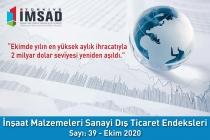 Türkiye İMSAD İnşaat Malzemeleri Sanayi Dış Ticaret Endeksi Ekim 2020 Sonuçları Açıklandı